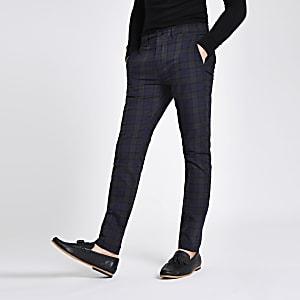 Green check skinny chino pants