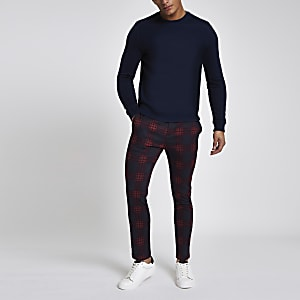 Red check skinny chino pants