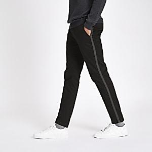 Black taped side skinny fit pants
