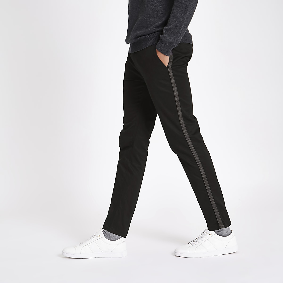 Black taped side skinny fit pants