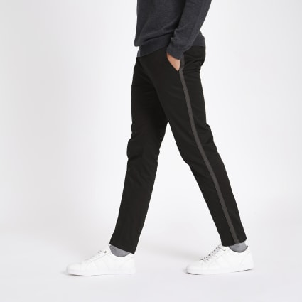 Black taped side skinny fit trousers