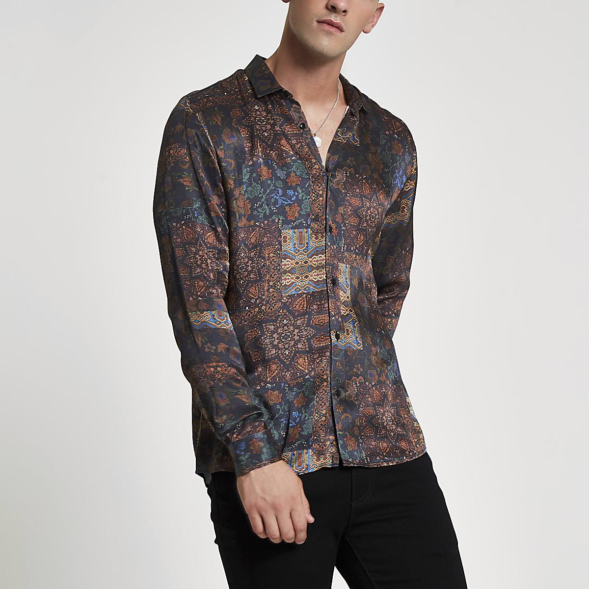Dark red tile print slim fit shirt