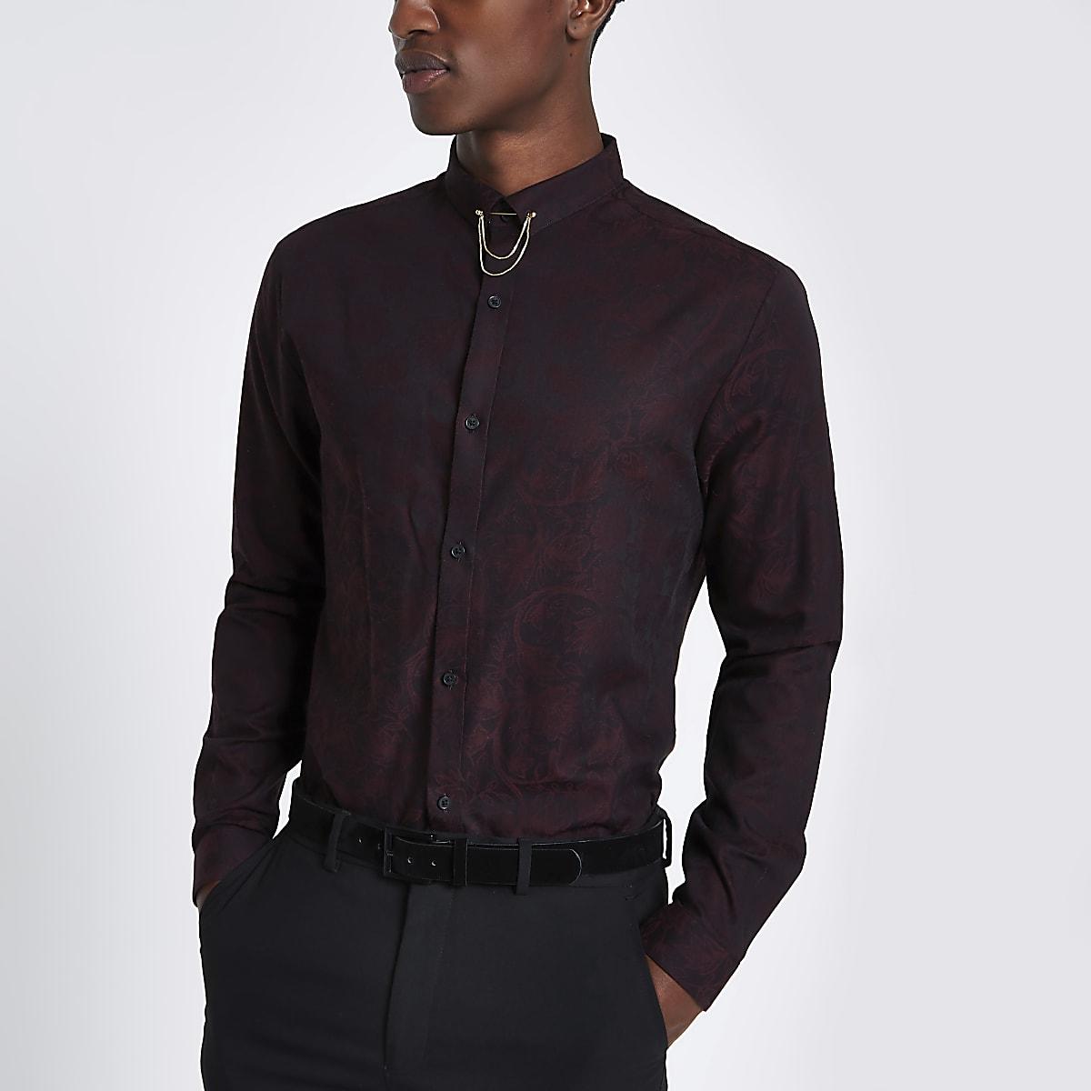 Dark red jacquard printed slim fit shirt