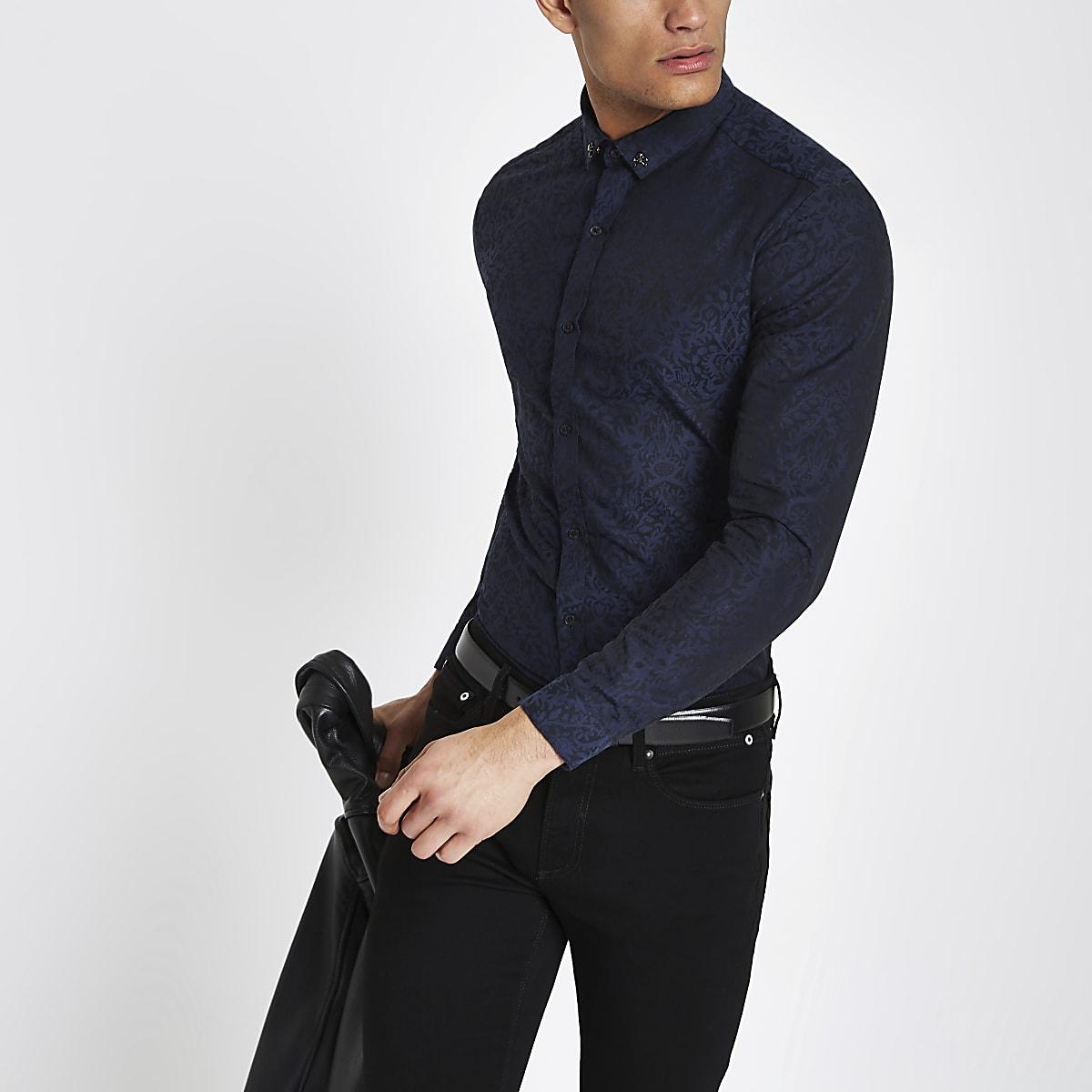 Navy jacquard print long sleeve button shirt