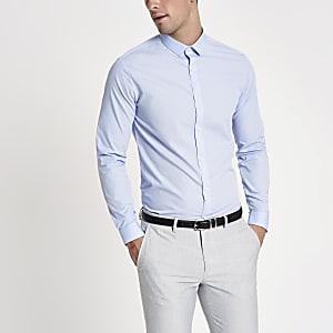 Chemise slim bleu clair à manches longues