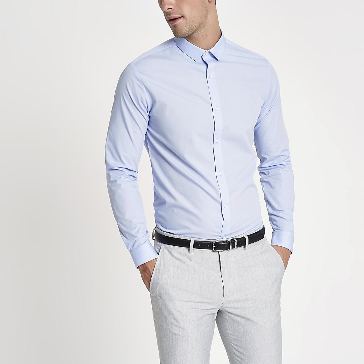 Lichtblauw slim-fit overhemd met lange mouwen