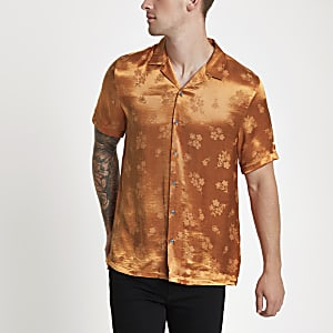 Orange jacquard floral revere shirt