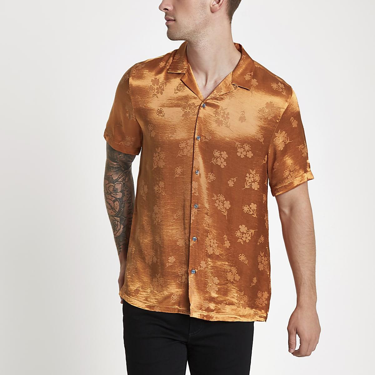 Orange jacquard floral revere shirt