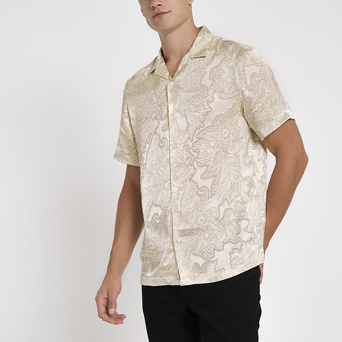 Ecru floral satin short sleeve revere shirt