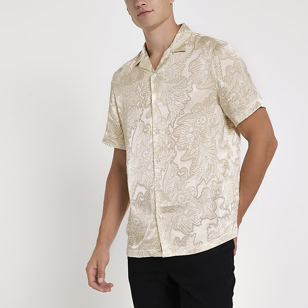 Ecru floral satin short sleeve revere shirt