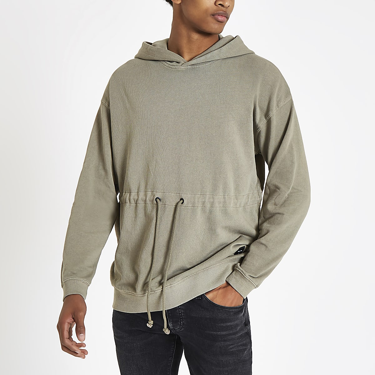 Only & Sons brown drawstring waist hoodie
