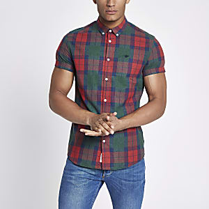 Red check wasp embroidered shirt
