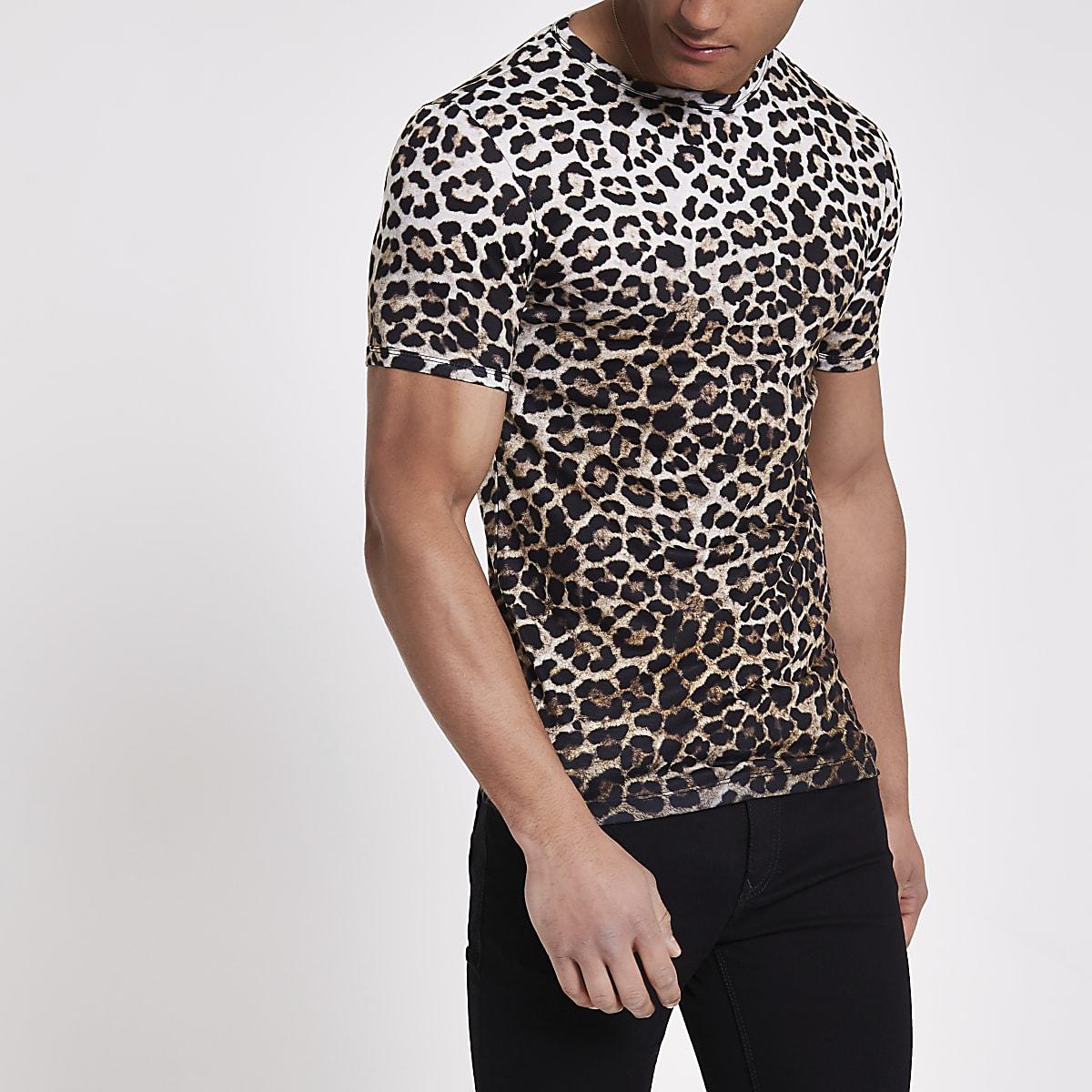 61b55f379f Brown slim fit leopard print T-shirt - T-shirts - T-Shirts & Vests - men
