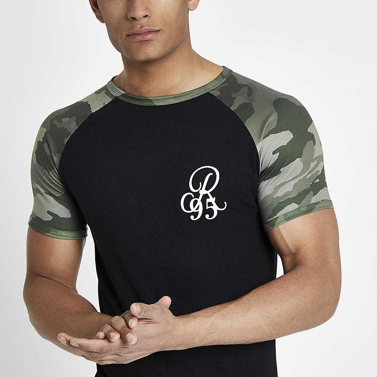 7bbb3f48 Black camo muscle fit raglan T-shirt - T-shirts - T-Shirts & Vests - men