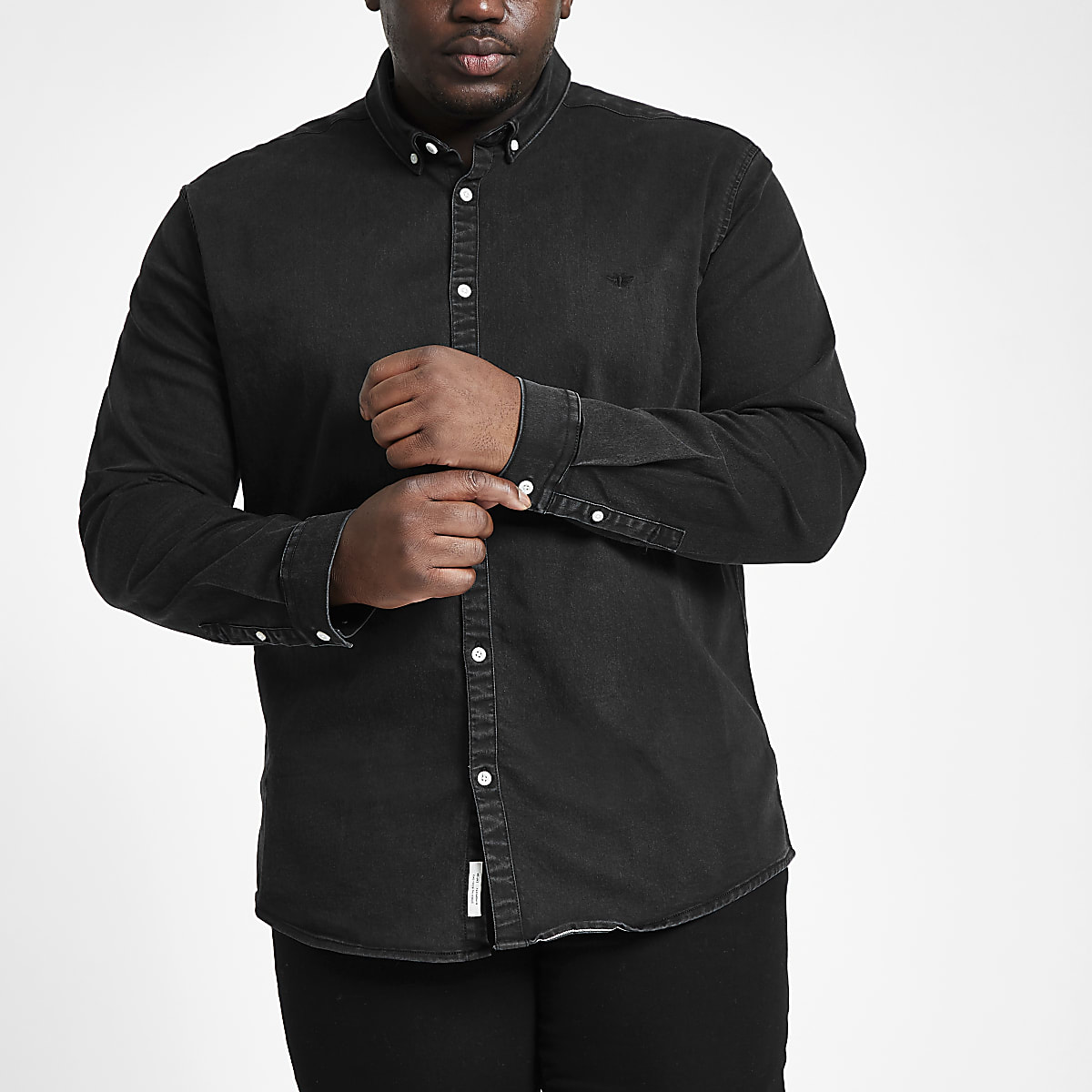Big and Tall black muscle fit denim shirt