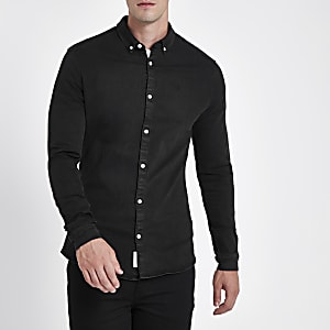 Black muscle fit long sleeve denim shirt