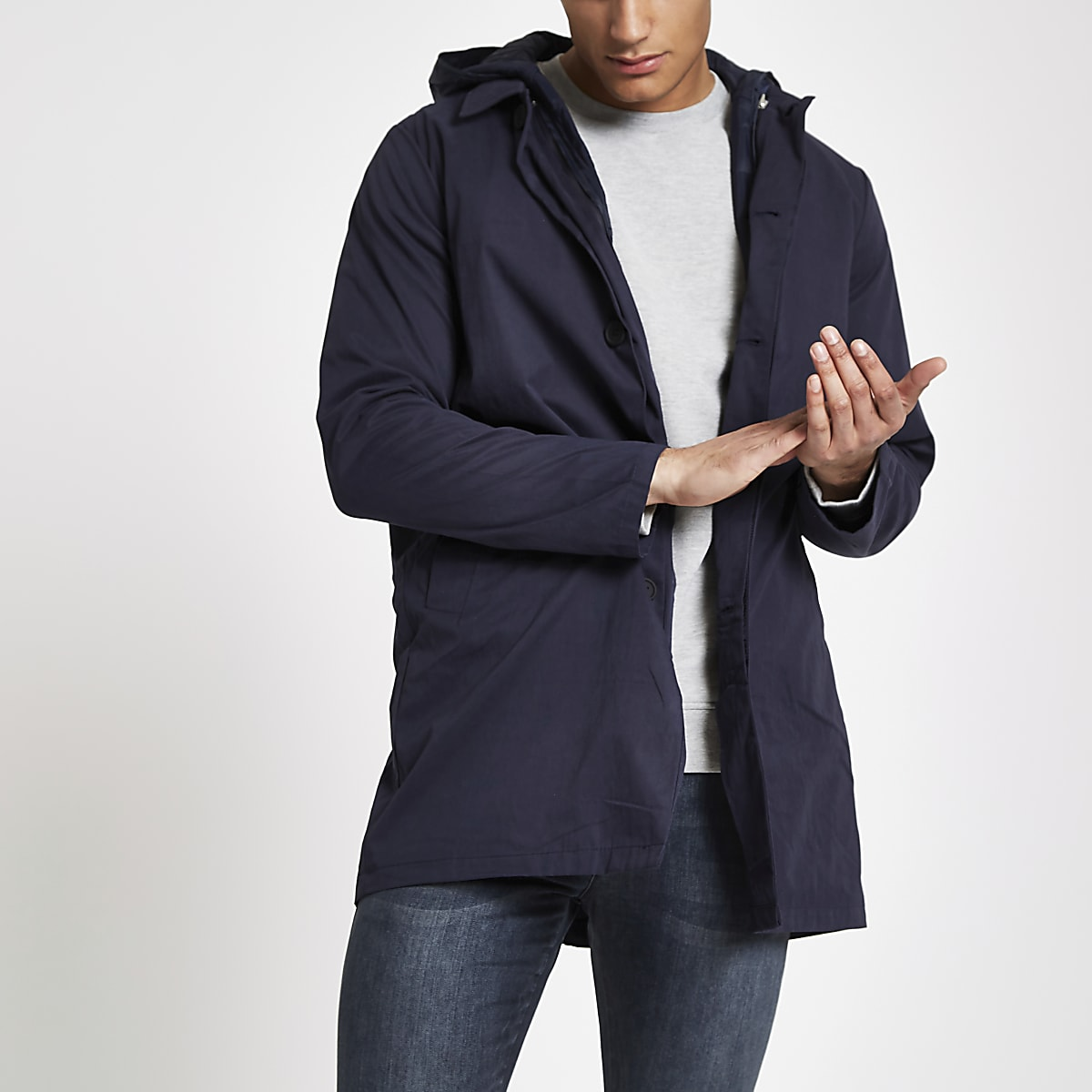 Bellfield navy three-in-one mac coat