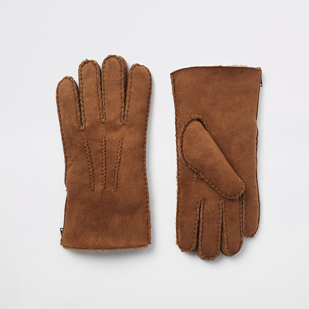Tan suede borg lined gloves