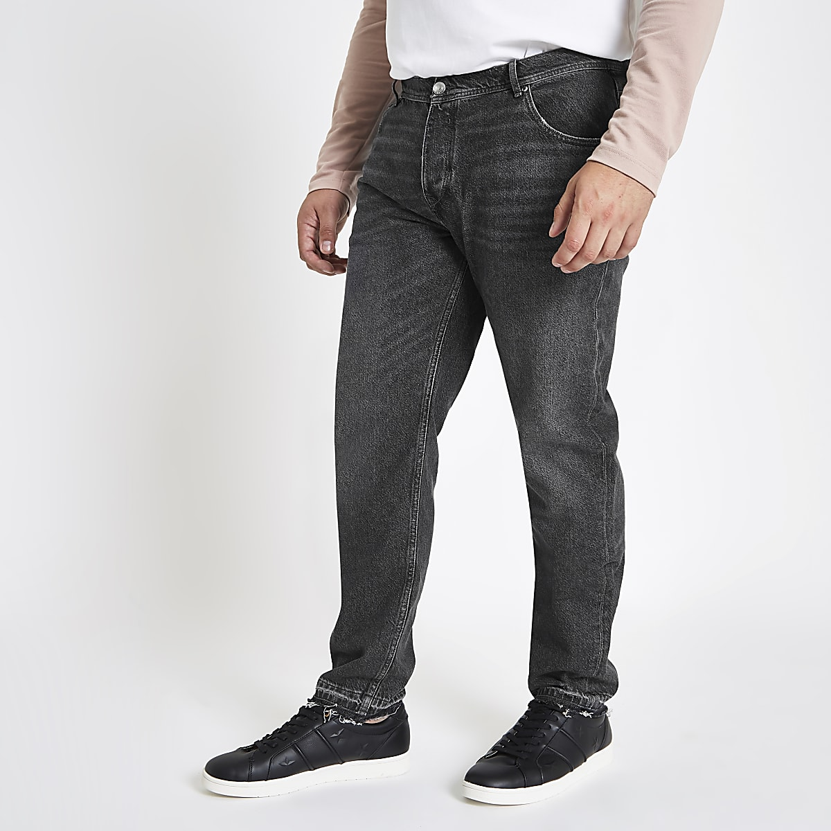 Big and Tall – Jean fuselé noir délavé
