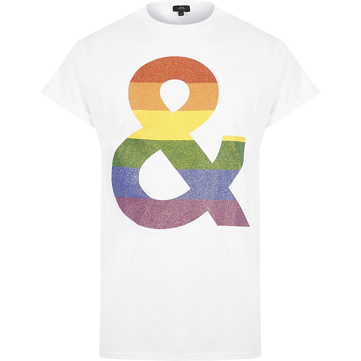 White 'Pride and glitter' T-shirt