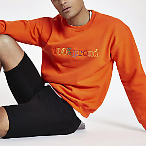 Orange '100% proud' pride sweatshirt