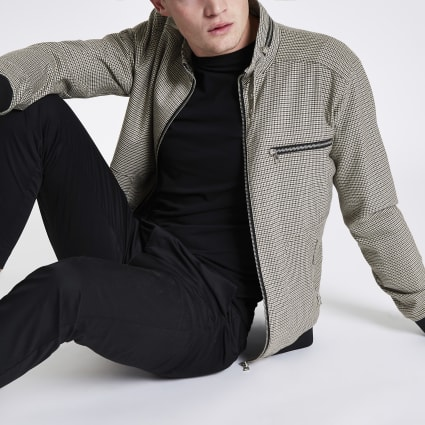 Brown check racer jacket