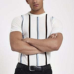 Ecru knit stripe slim fit T-shirt