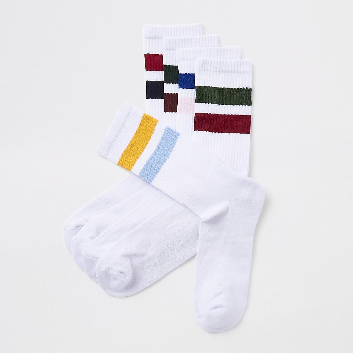 Lot de 5 paires de chaussettes tube rayées blanches