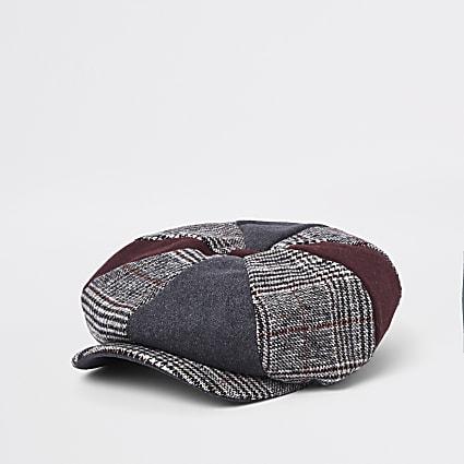 Dark red mixed panel check baker boy hat