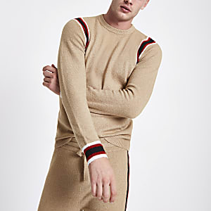 Camel knit slim fit contrast tape side sweater