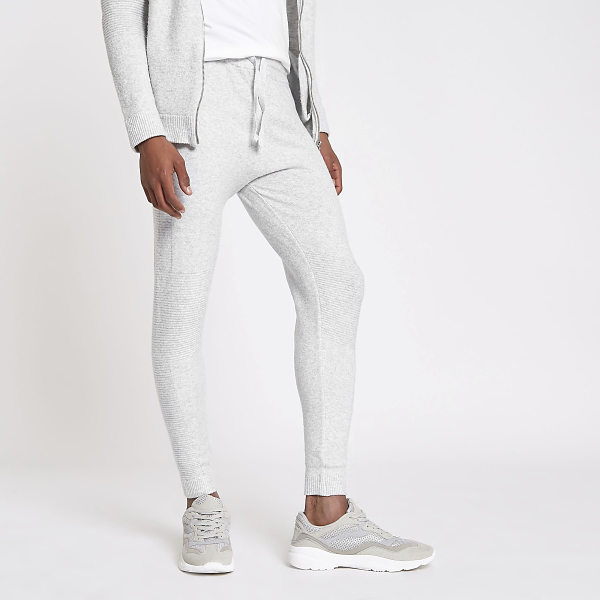 Grey knit slim fit joggers