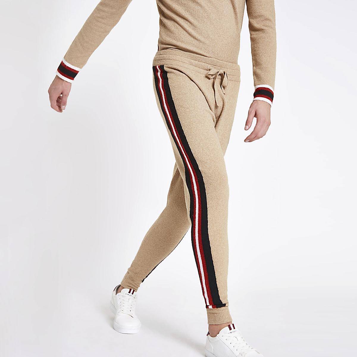 Pantalon de jogging slim en maille marron à bandes latérales