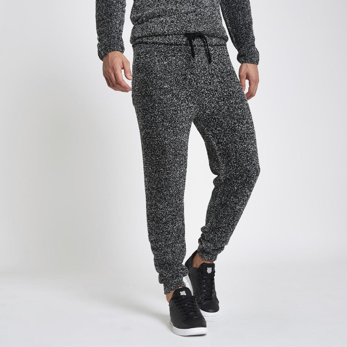 Grey slim fit teddy fleece joggers