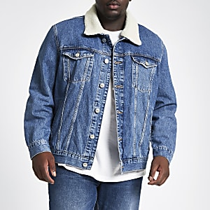 Big and Tall – Veste en denim bleue doublée de fausse fourrure
