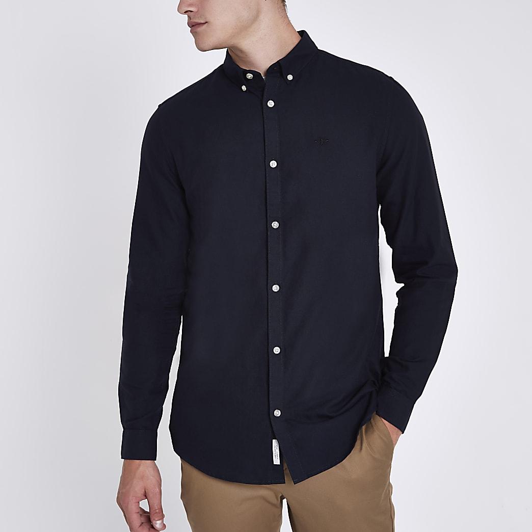Marineblaues Regular Fit Oxford-Hemd mit Stickerei