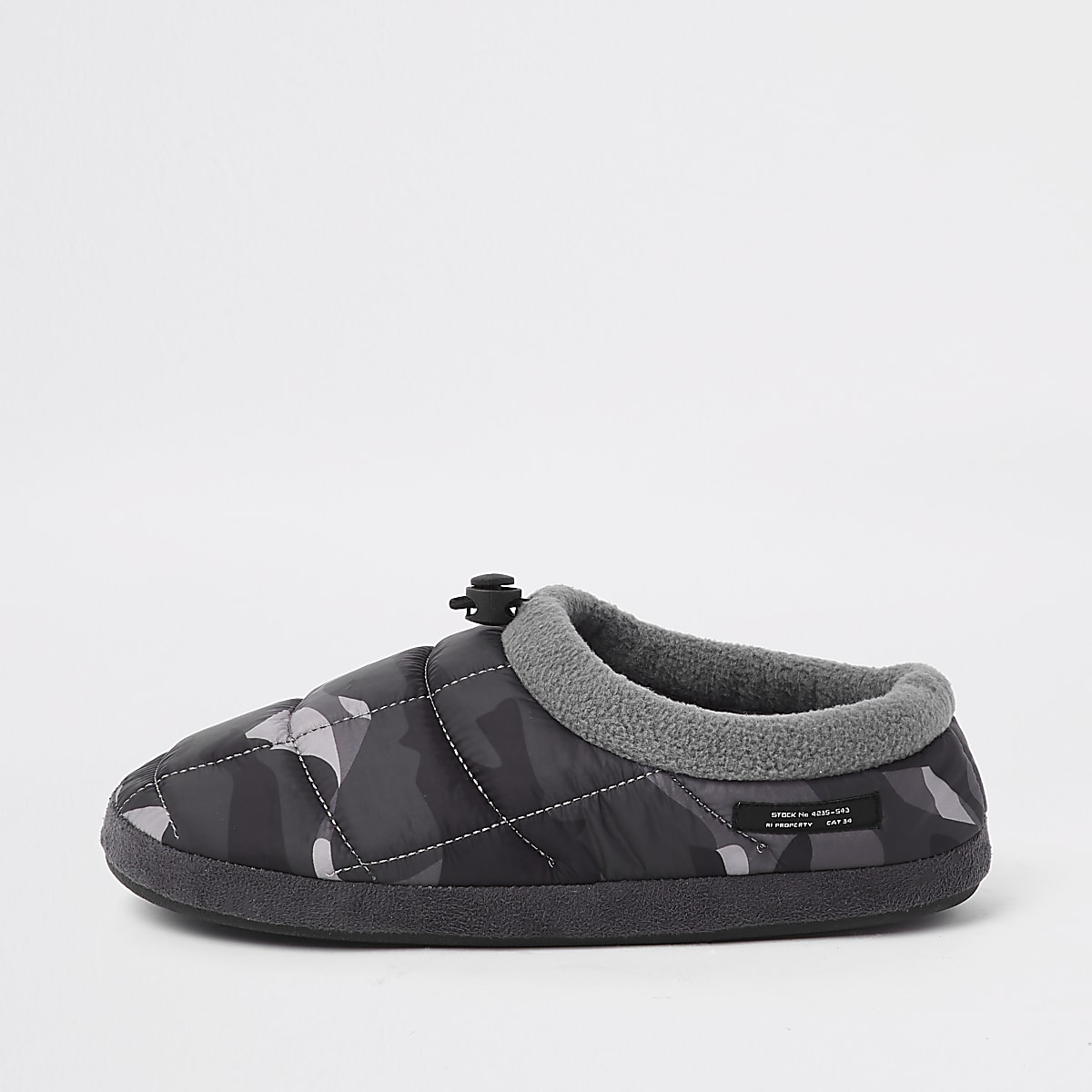 Grey camo padded toggle slippers
