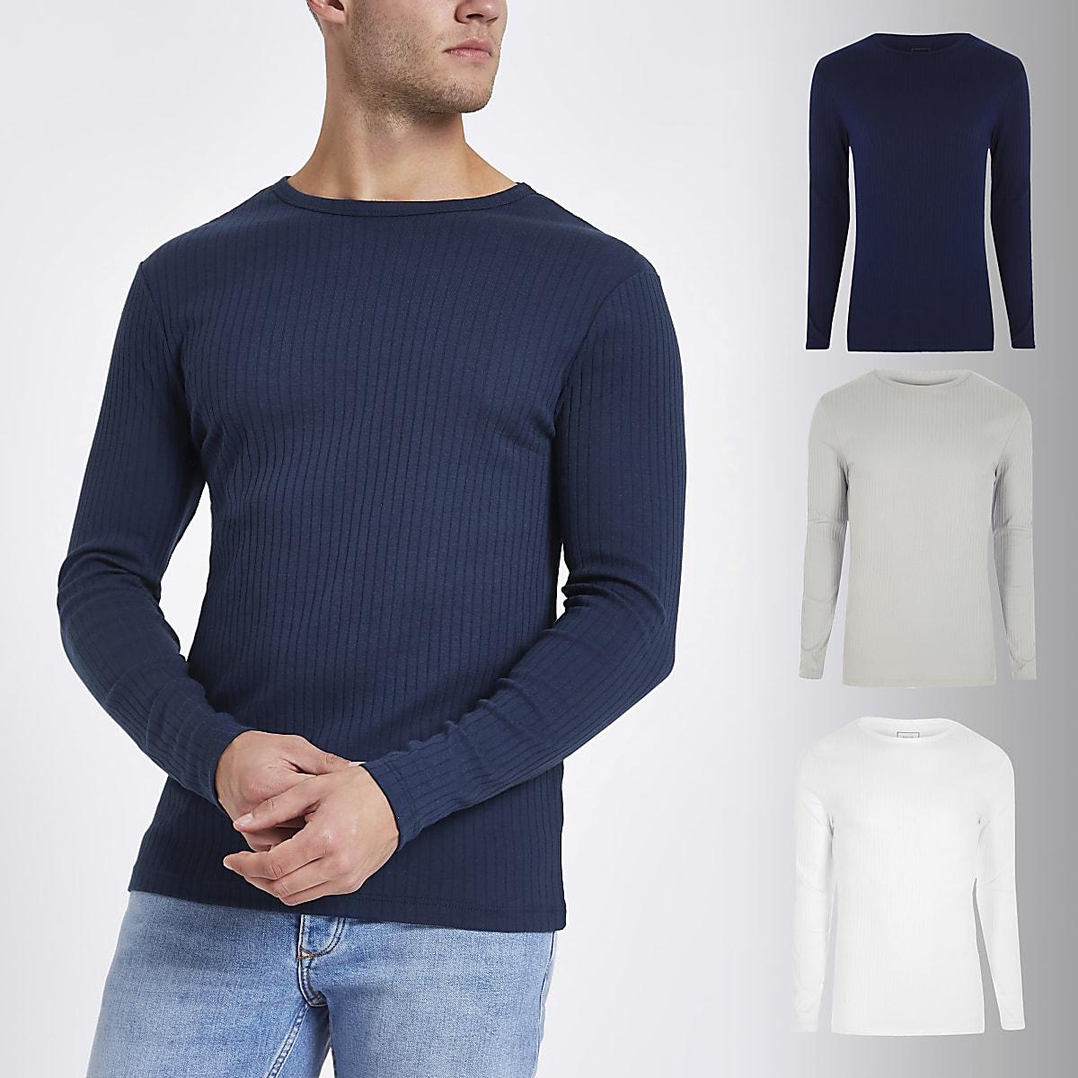 9f7c109c8260d2 Navy rib slim fit T-shirt 3 pack - Long Sleeve T-Shirts - T-Shirts & Vests  - men