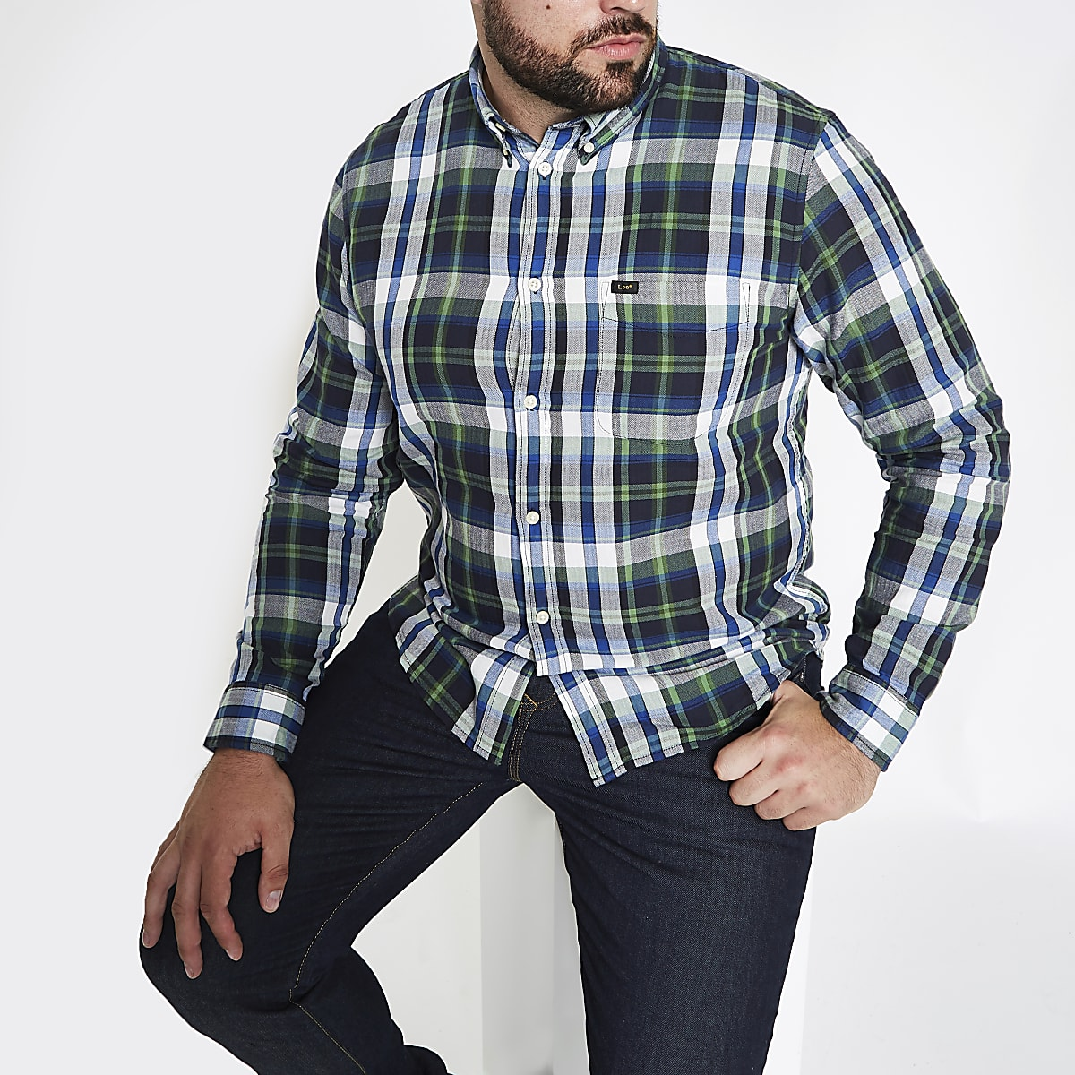 Lee Big and Tall green check shirt