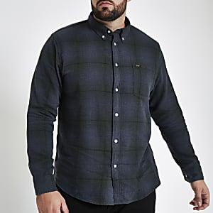 Lee Big and Tall blue check button down shirt