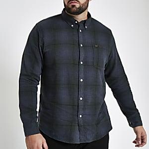 Lee – Big and Tall – Chemise à carreaux bleue boutonnée