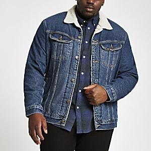 Lee – Big and Tall – Veste en denim bleue avec imitation peau de mouton
