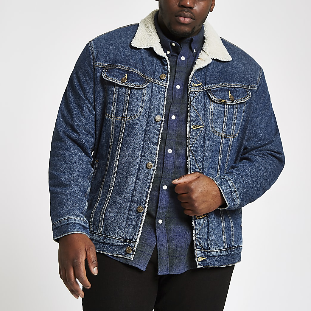 Lee Big and Tall blue borg denim jacket