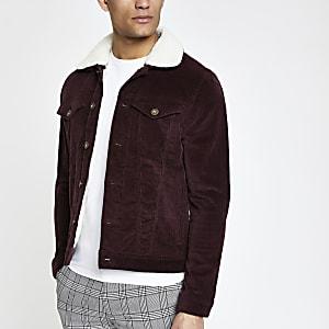 Dark red borg collar cord jacket