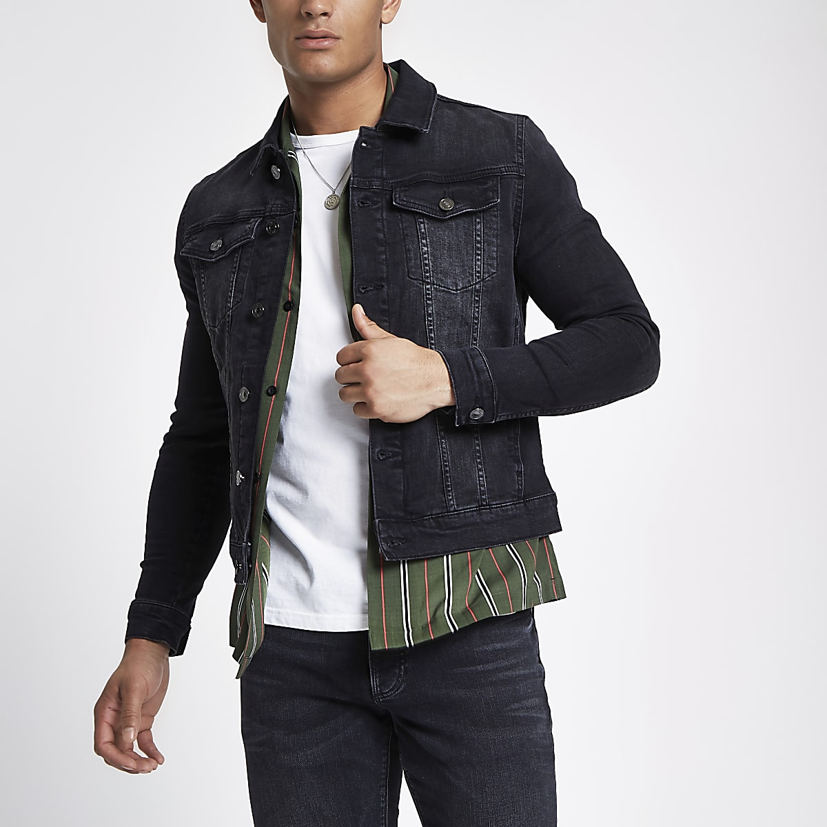 Black wash muscle fit denim jacket