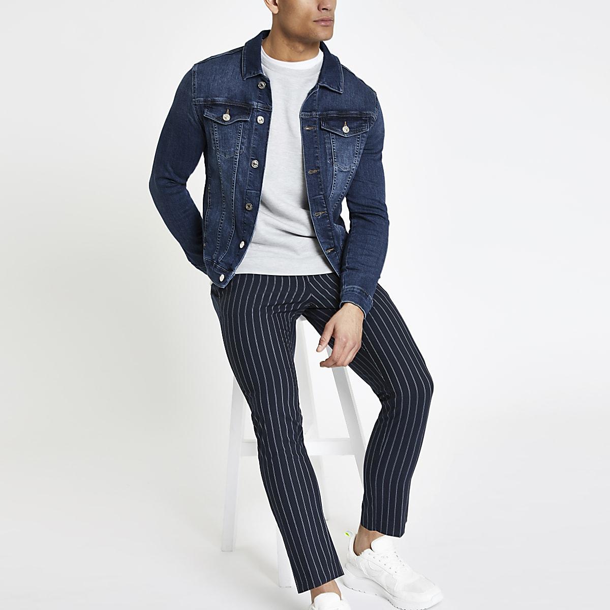 cd620941618c Dark blue muscle fit denim jacket - Jackets - Coats & Jackets - men