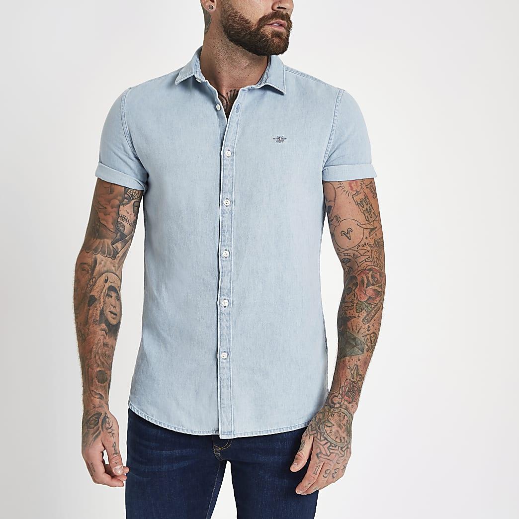 Blue denim wasp embroidered shirt