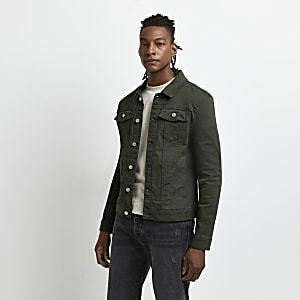 8b129fb5f185 Dark green muscle fit denim jacket