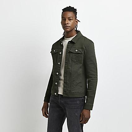 Dark green muscle fit denim jacket