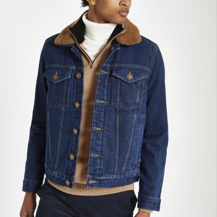 Dark blue borg lined denim jacket