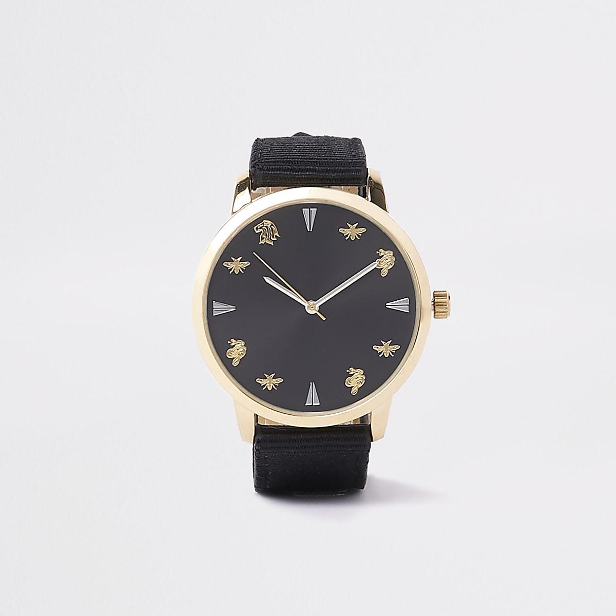 Armbanduhr in Schwarz und Gold